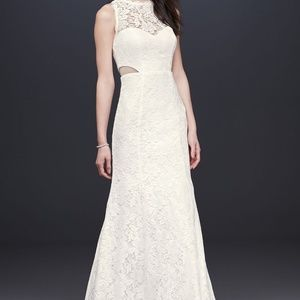 DB Corded Lace Trumpet Dress with Illusion Sides